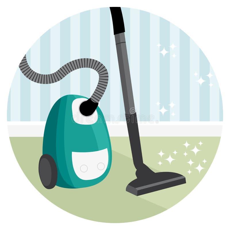 Illustration nettoyante à l'aspirateur de service de nettoyage de maison de tapis illustration libre de droits