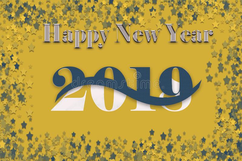 New Year background with 2019 unfolding over 2018. Illustration of 2019 New year on gold background with 2018 in back; 2019 unfolding; star confetti in blue and royalty free illustration