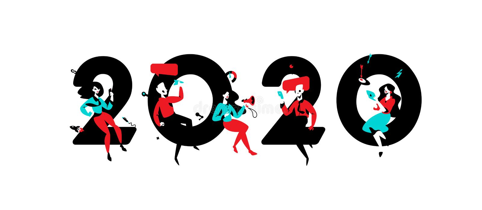 Illustration for the new year 2020. Vector. People work around numbers. Businessmen celebrate Christmas. Advertisers in going to stock illustration