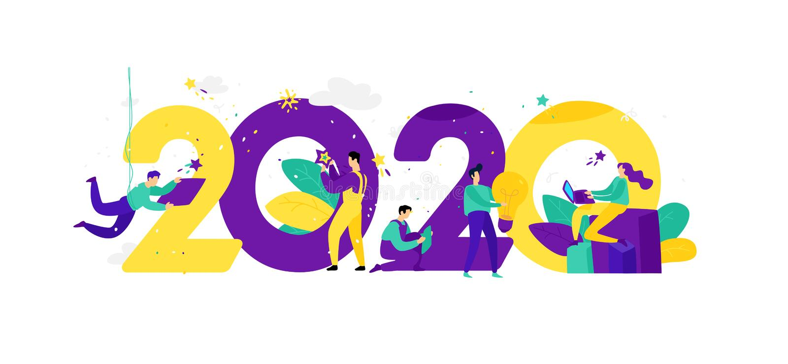 Illustration for the New Year 2020. Vector. People work around numbers. Businessmen celebrate Christmas. Employees in the office stock illustration