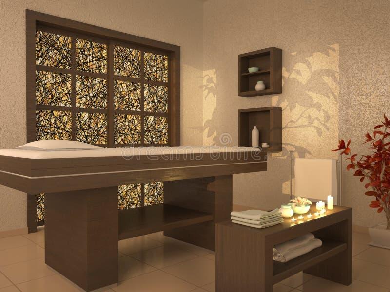 Illustration of nice massage room in spa saloon stock illustration