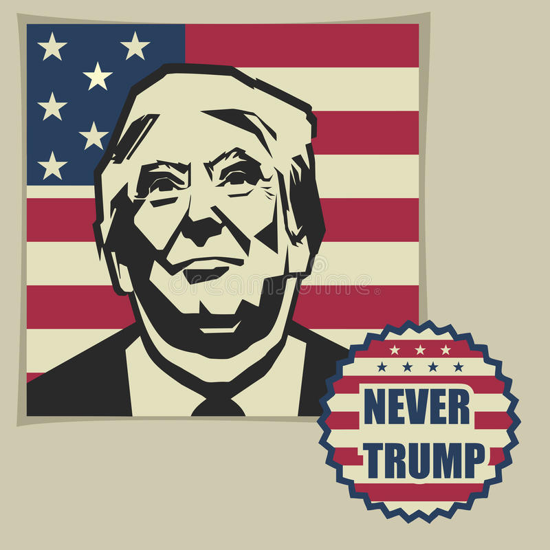 Illustration nie Donald Trump, flaches Design lizenzfreie abbildung