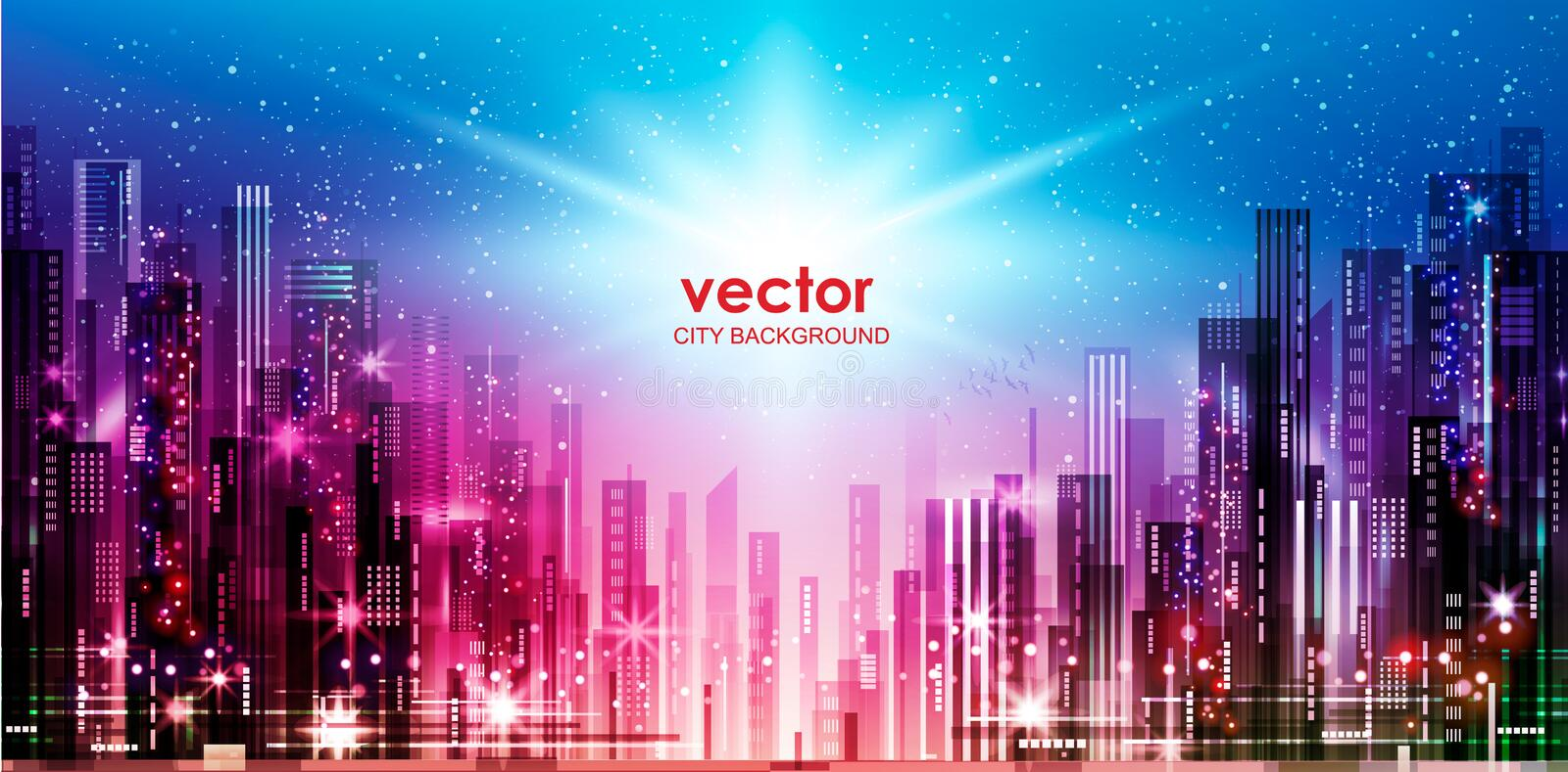 Illustration of the night city with lights switched on. Vector background of the night city with blurred lights, vector illustration royalty free illustration
