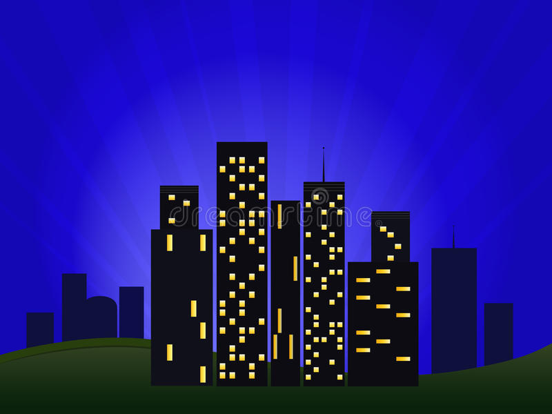Download Illustration Of Night Cityscape Stock Vector - Image: 21364083