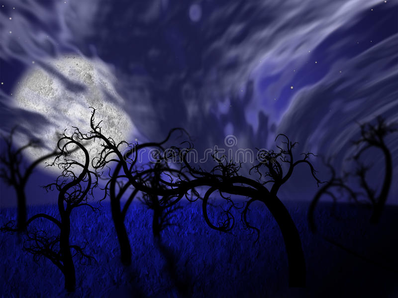 Illustration of night forest with full moon vector illustration