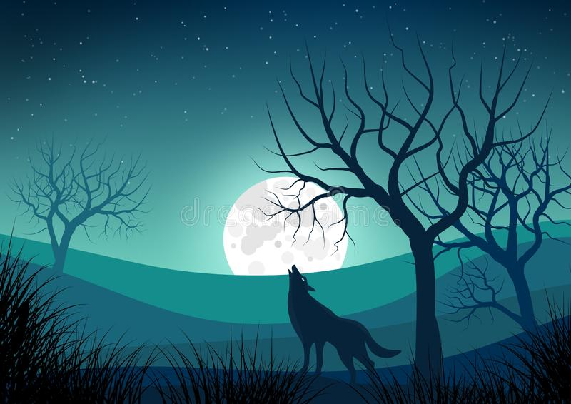 Illustration with night landscape with silhouettes of naked trees and wolf howling at the moon royalty free illustration