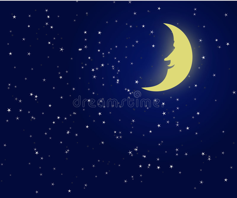 Illustration of a night sky with fantastic moon royalty free illustration