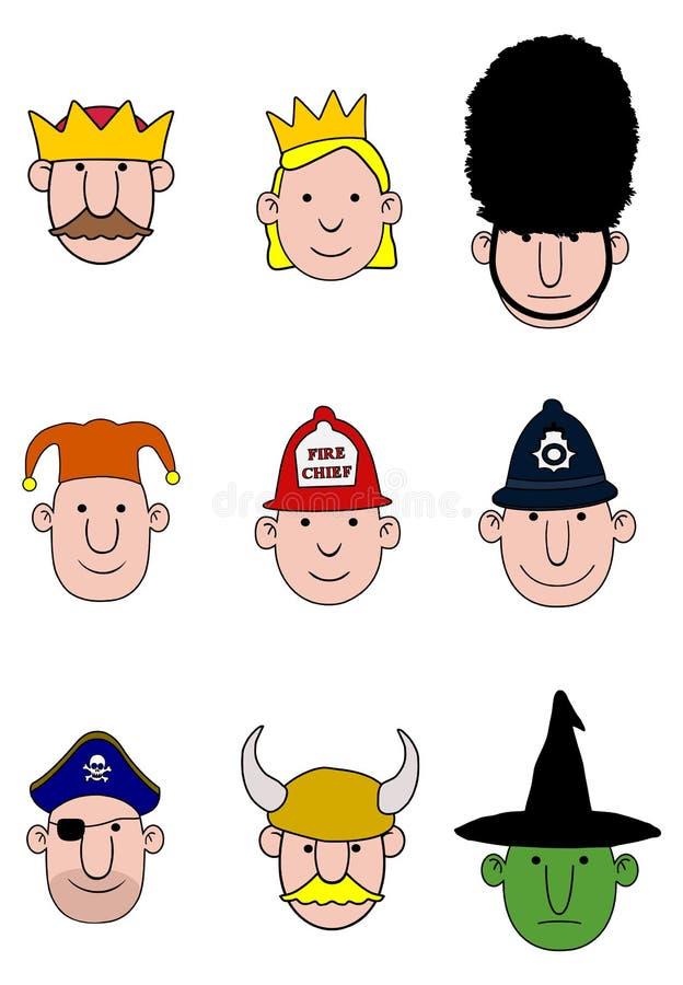 Cartoon character heads stock illustration