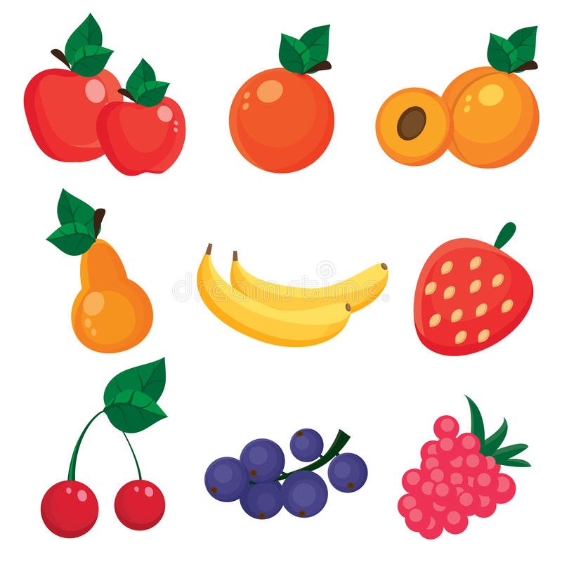 Illustration of nine different fruits and berries stock photos