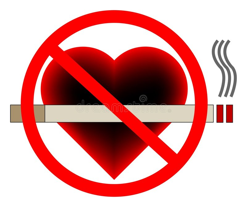 Illustration of a no smoking sign with a heart in vector illustration