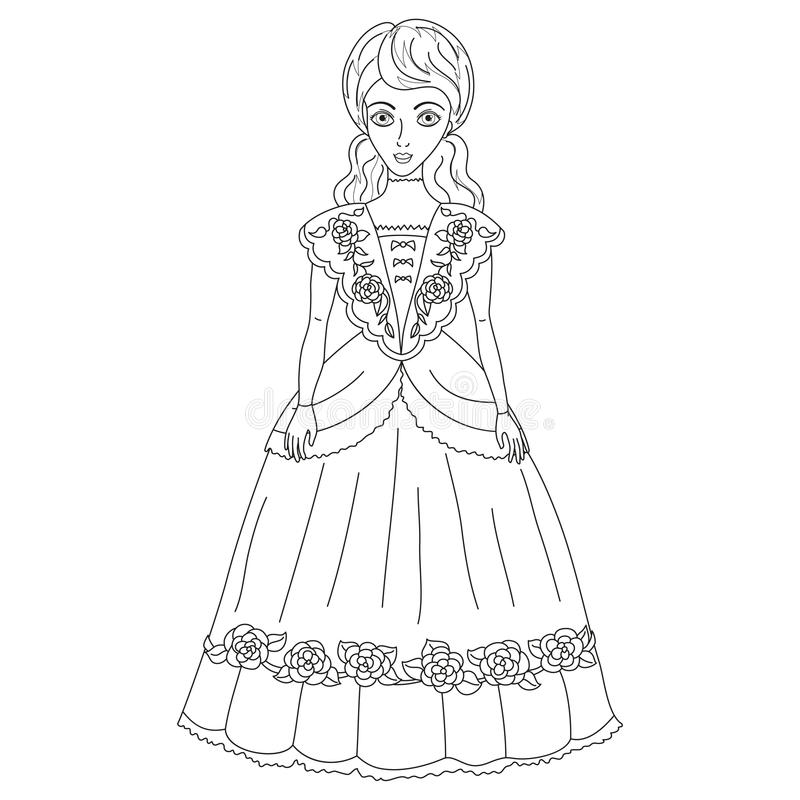 Illustration of noblewoman in ancient dress coloring book for Coloring pages of pretty dresses