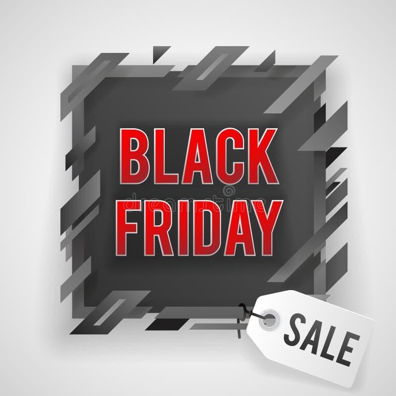 Illustration noire abstraite de vecteur de conception de fond de bannière de boutique d'étiquette de vente de vendredi illustration libre de droits