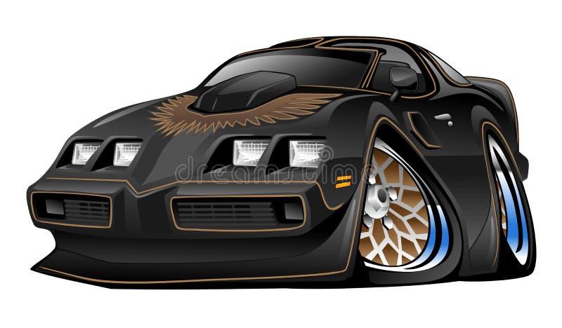 Illustration noire américaine classique de bande dessinée de voiture de muscle illustration libre de droits