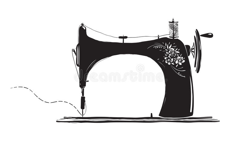 Illustration noire d'encre de machine à coudre de vintage illustration stock