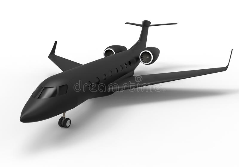 Illustration noire de jet privé illustration de vecteur
