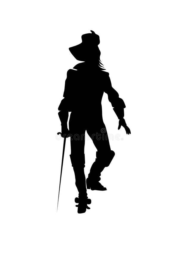 Illustration noire de silhouette de mousquetaires illustration stock