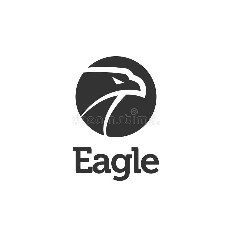 Illustration noire de vecteur de calibre de conception d'icône de logo d'aigle illustration de vecteur