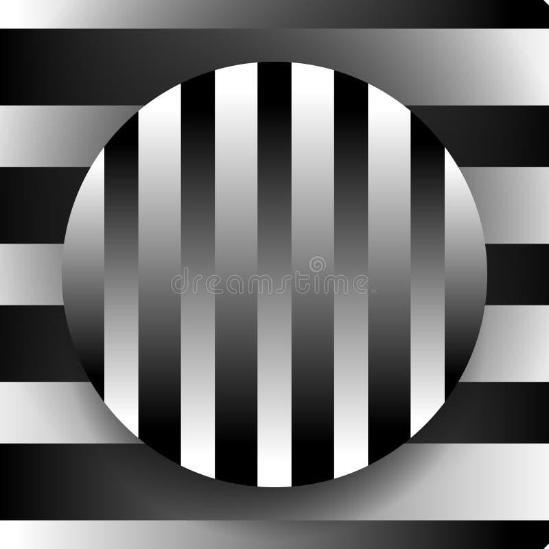 Illustration noire et blanche Contrasty avec le cercle au-dessus du backgrou illustration de vecteur