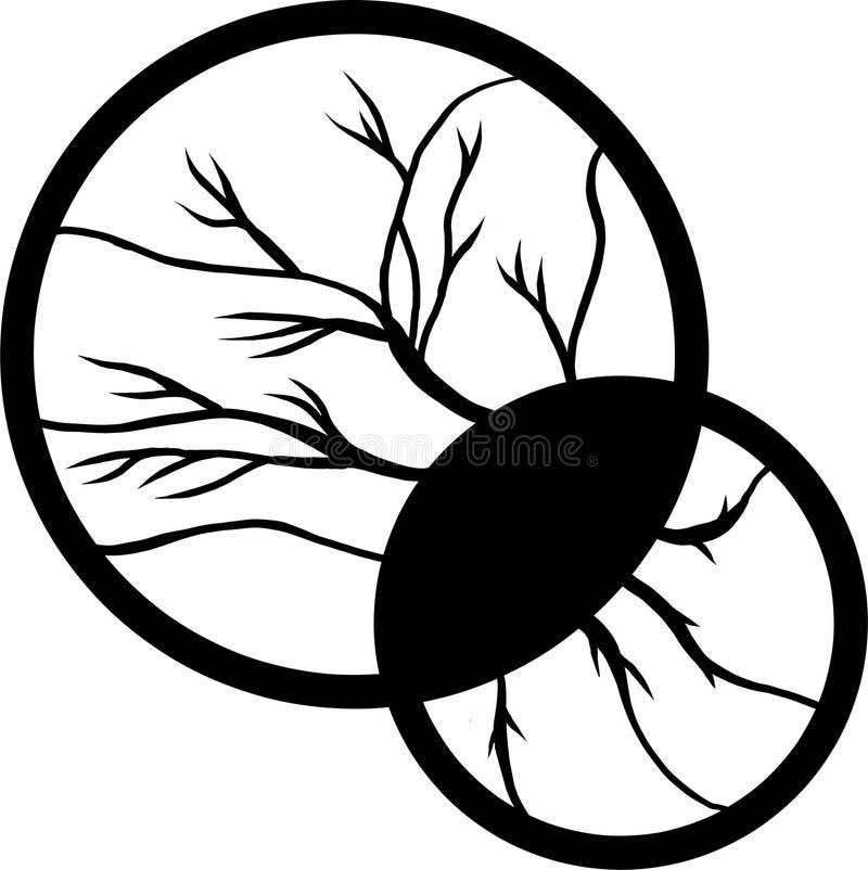 Illustration noire et blanche d'arbre et de racines photo stock