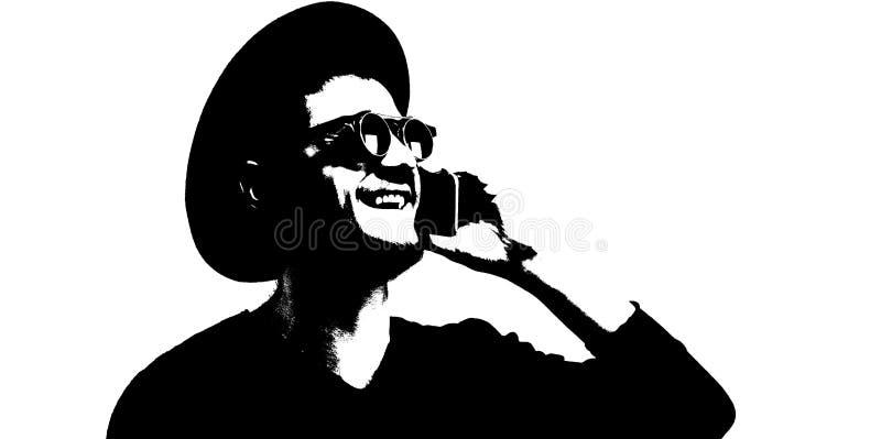 Illustration noire et blanche d'homme de sourire avec le smartphone à disposition photos stock