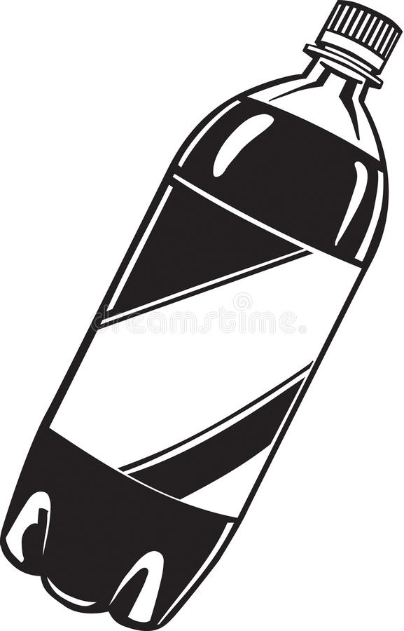 Illustration noire et blanche de bouteille de boisson non alcoolisée illustration de vecteur
