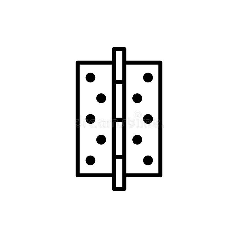 Illustration noire et blanche de charnière de porte Ligne icône de vecteur Objet d'isolement illustration de vecteur