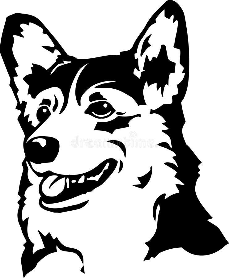 Illustration noire et blanche de corgi de Gallois illustration libre de droits