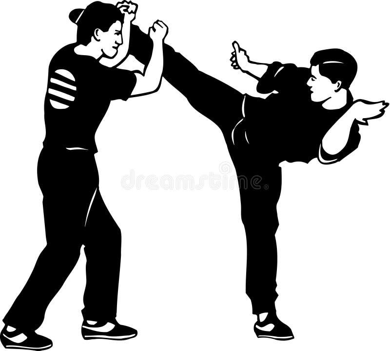 Illustration noire et blanche de karaté illustration de vecteur
