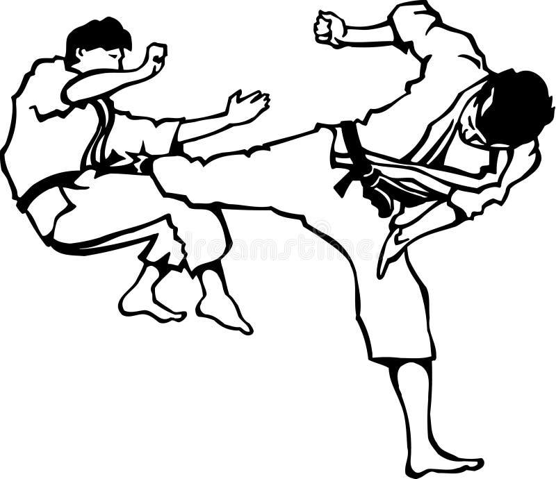 Illustration noire et blanche de karaté illustration libre de droits
