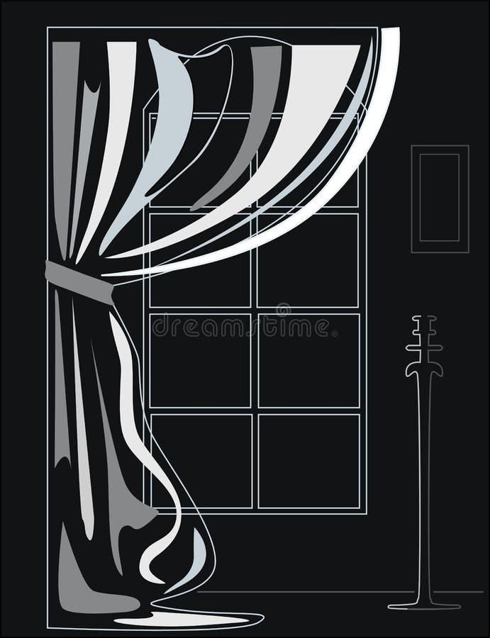 Illustration noire et blanche de l'intérieur photographie stock libre de droits