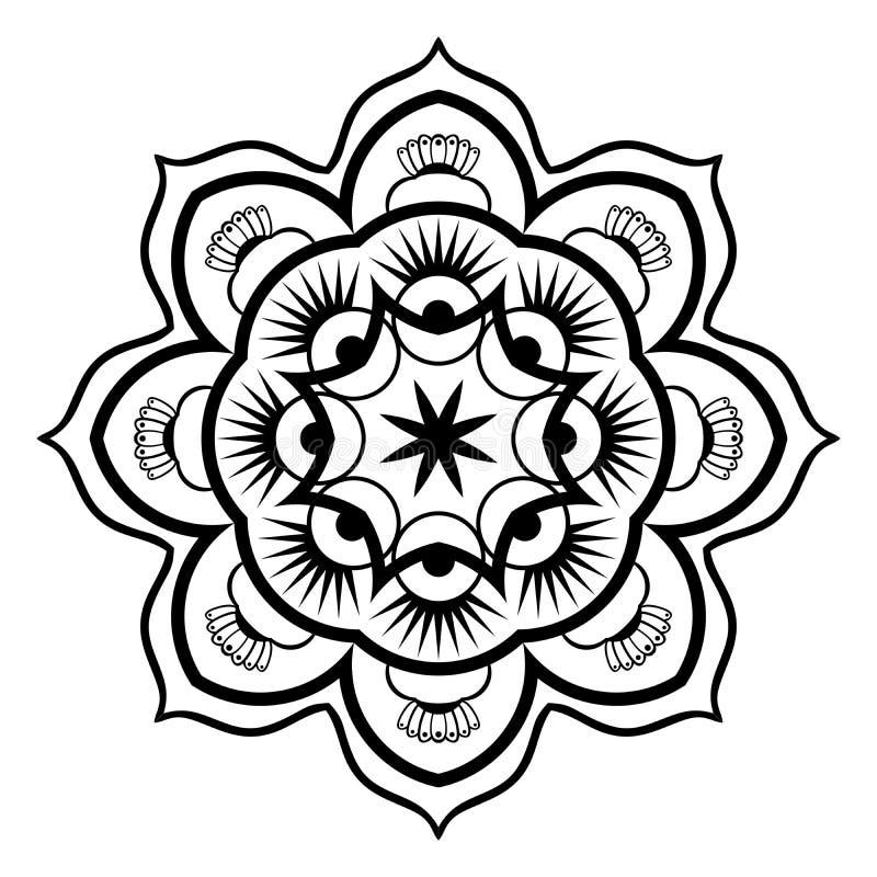 Illustration noire et blanche de Mandala Illustration Vector illustration libre de droits