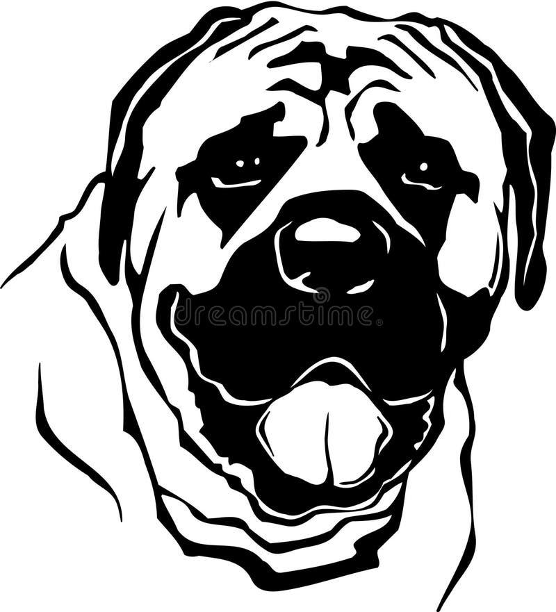Illustration noire et blanche de mastiff illustration de vecteur