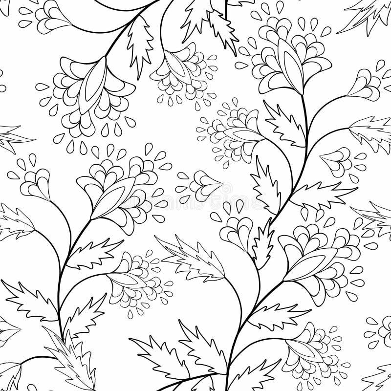 Illustration noire et blanche de modèle d'éléments ornementaux sans couture de livre de page de coloration photographie stock