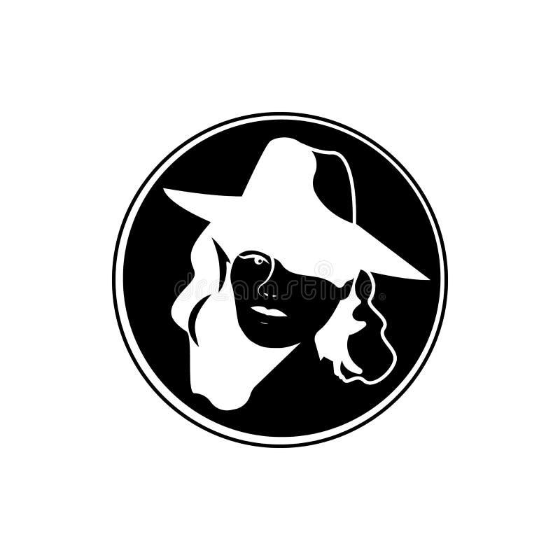 illustration noire et blanche de timbre révélateur de femme illustration de vecteur