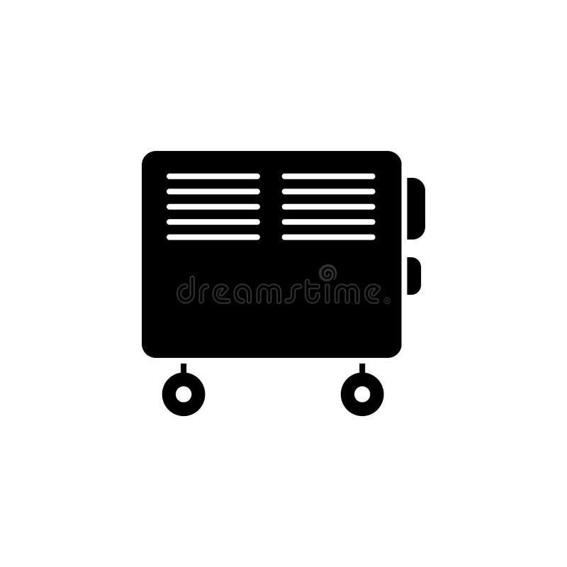 Illustration noire et blanche de vecteur de convecteur électrique IC plat illustration libre de droits