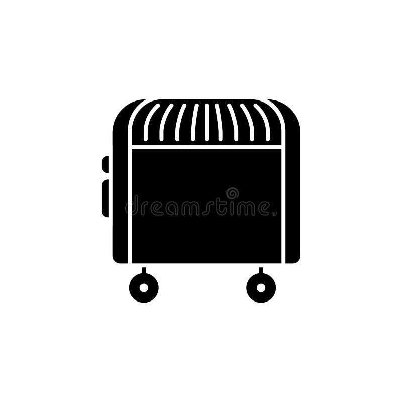 Illustration noire et blanche de vecteur de convecteur électrique IC plat illustration stock