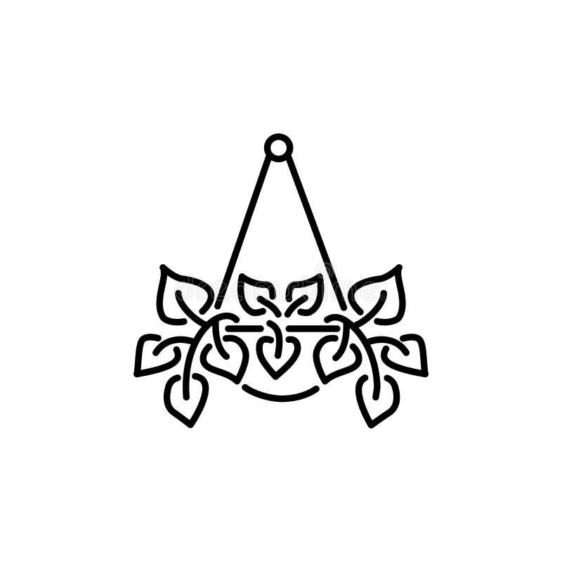 Illustration noire et blanche de vecteur d'usine accrochante avec des feuilles i illustration de vecteur