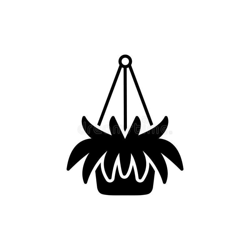 Illustration noire et blanche de vecteur d'usine accrochante avec des feuilles i illustration libre de droits