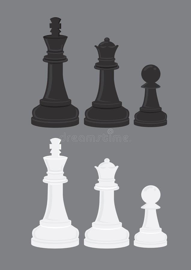 Illustration noire et blanche de vecteur de pièces d'échecs illustration stock