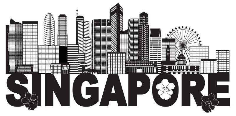 Illustration noire et blanche de vecteur des textes d'horizon de ville de Singapour illustration de vecteur