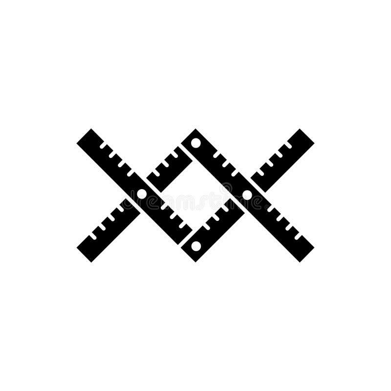 Illustration noire et blanche de vecteur du pantographe à agrandir, réduire le croquis Icône plate d'instrument pour l'architecte illustration libre de droits