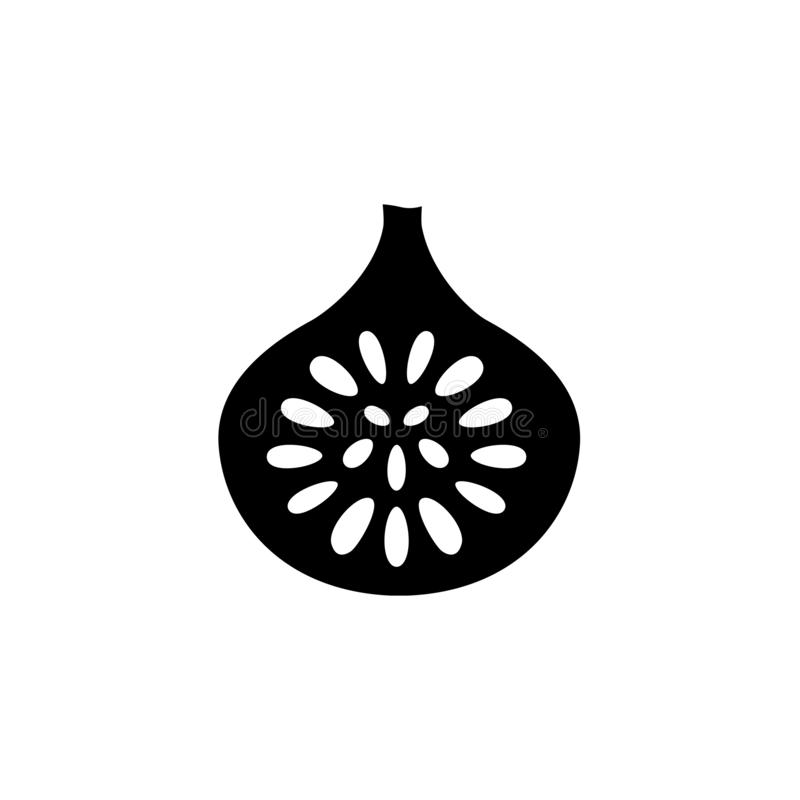 Illustration noire et blanche de vecteur de fruit coupé de figue avec des graines f illustration stock
