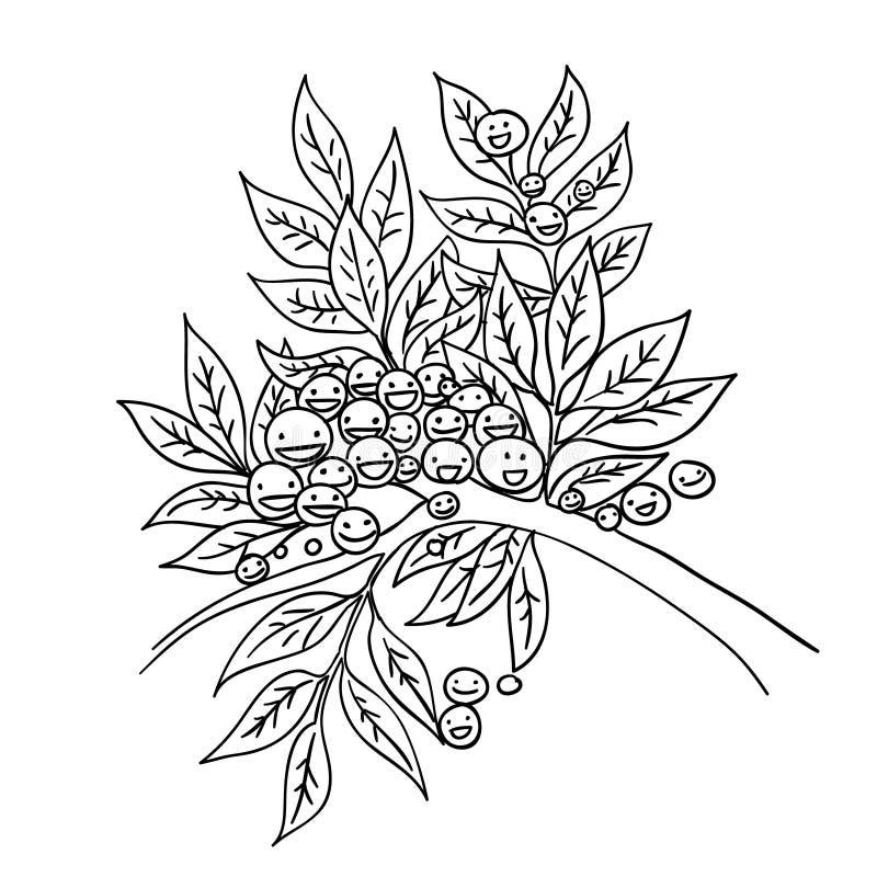 Illustration noire et blanche de vecteur de griffonnage de bande dessinée de croquis de branche d'olivier illustration stock