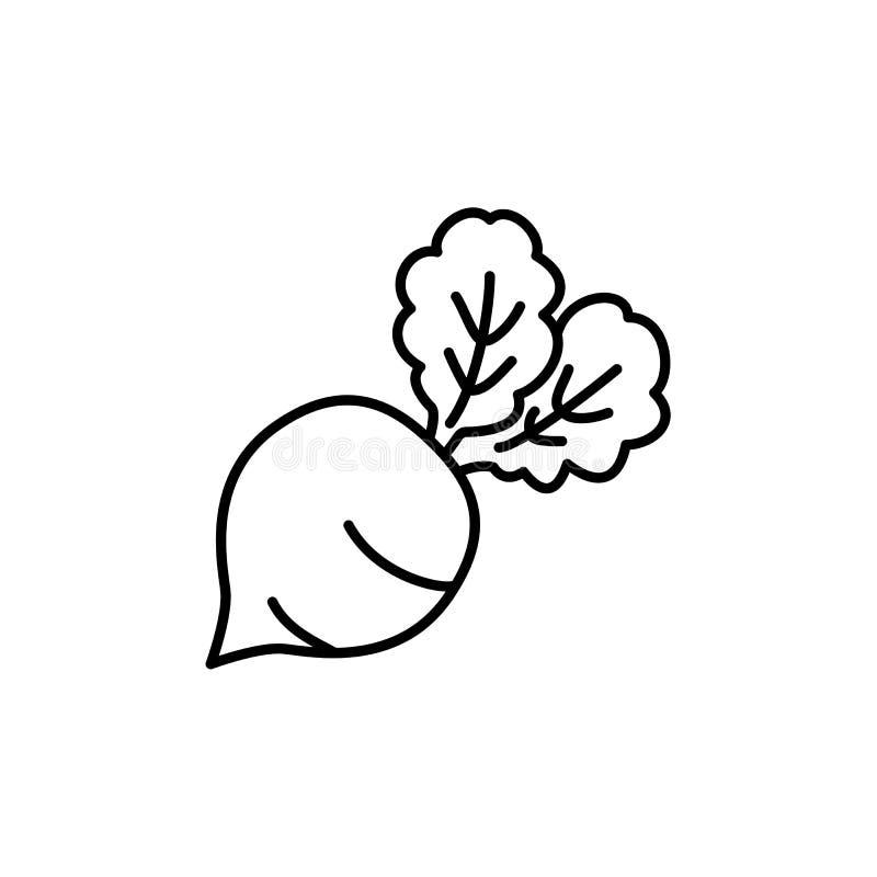 Illustration noire et blanche de vecteur de légume de betterave de table ligne illustration libre de droits