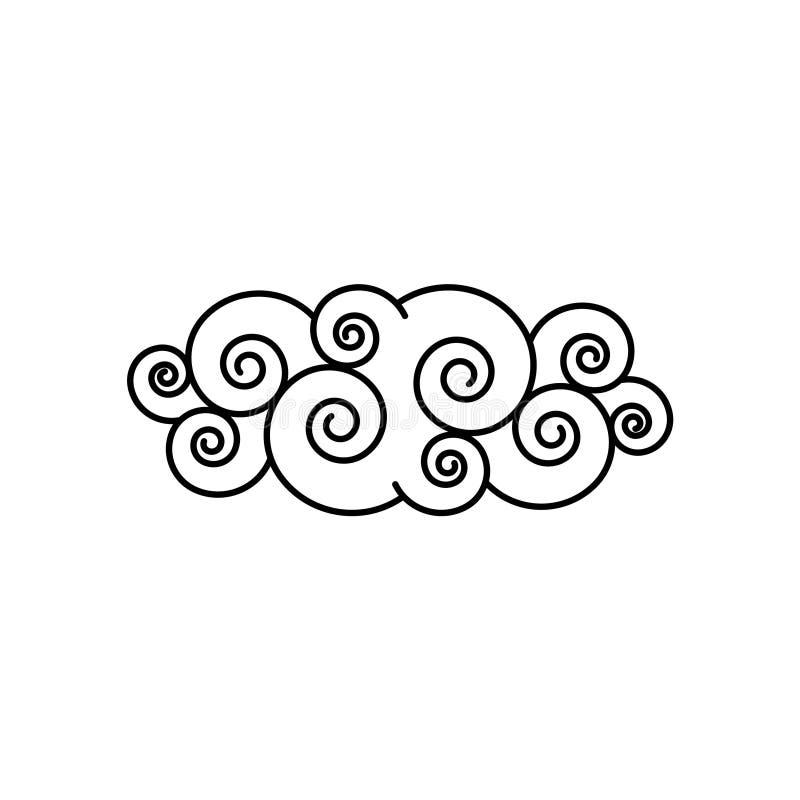 Illustration noire et blanche de vecteur de nuage tiré par la main illustration stock