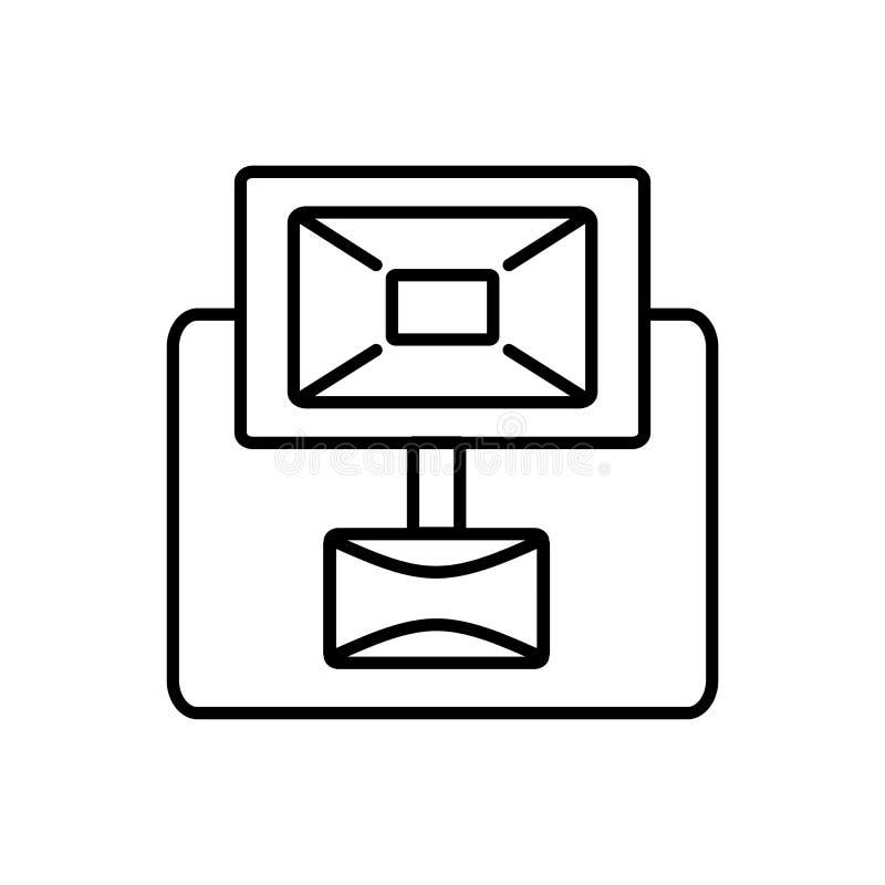 Illustration noire et blanche de vecteur de projecteur avec le capteur de sécurité de mouvement Ligne icône d'appareil d'éclairag illustration libre de droits