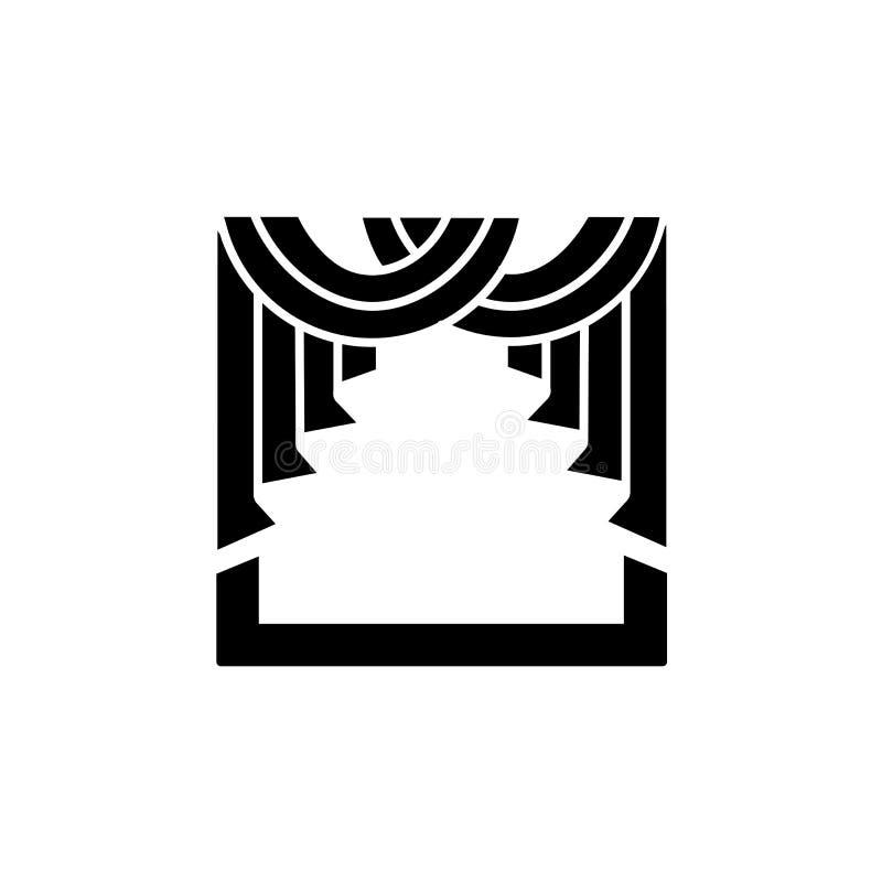 Illustration noire et blanche de vecteur de rideau en écharpe de tissu avec d illustration de vecteur