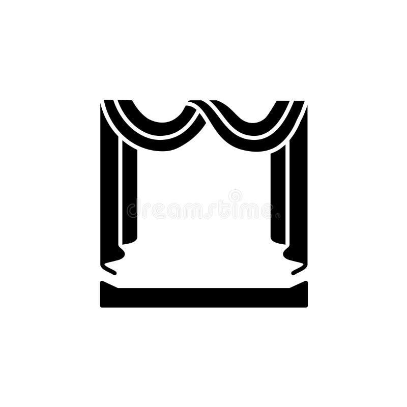 Illustration noire et blanche de vecteur de rideau en écharpe de tissu avec d illustration libre de droits