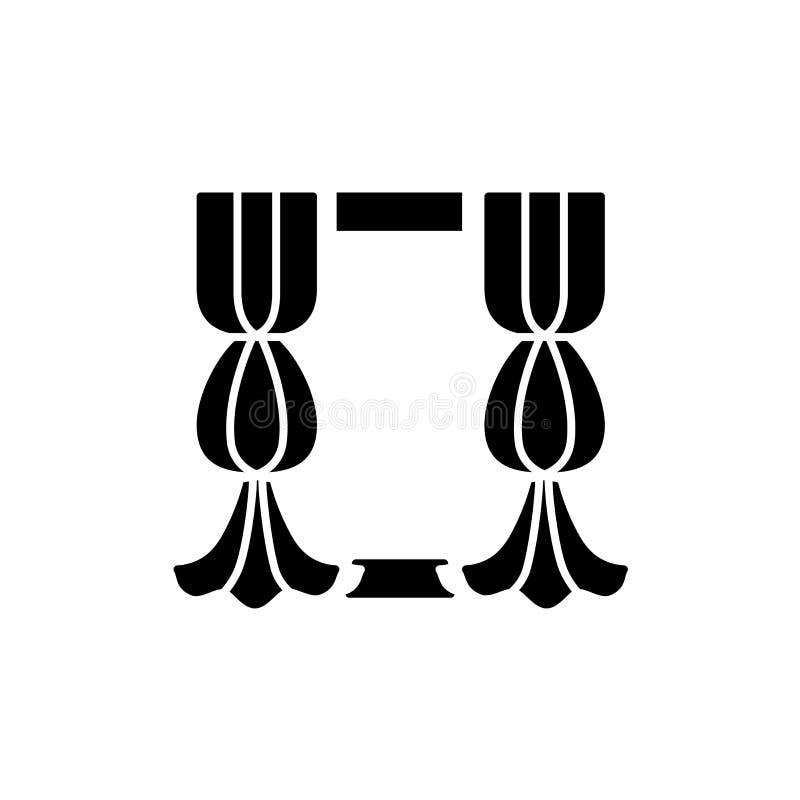 Illustration noire et blanche de vecteur de rideau en fenêtre de tissu avec illustration stock