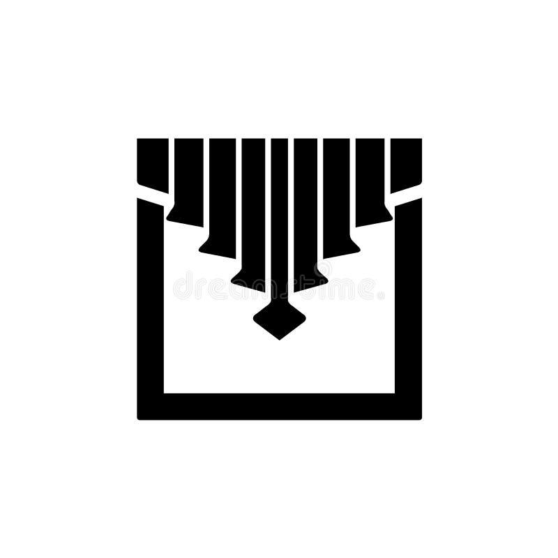 Illustration noire et blanche de vecteur de rideau en tissu avec central illustration stock